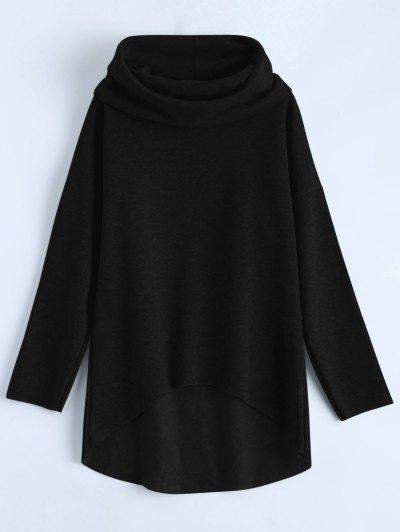 High-Low Tunic Hoodie - BLACK M Mobile