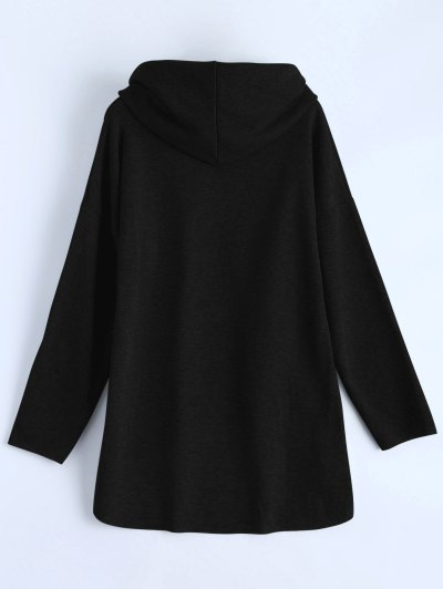 High-Low Tunic Hoodie - BLACK S Mobile