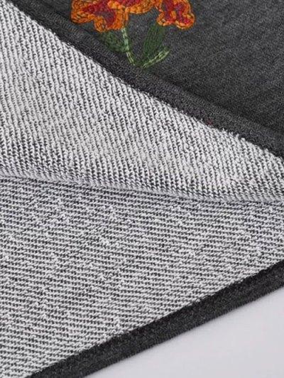 Embroidered Raglan Pullover Sweatshirt - GRAY S Mobile