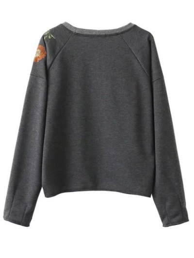 Embroidered Raglan Pullover Sweatshirt - GRAY M Mobile