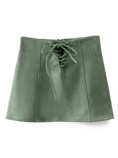 Faux Suede Lace Up Mini Skirt - GREEN L Mobile