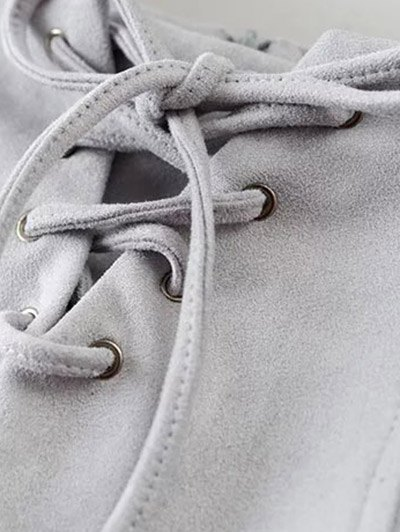 Faux Suede Lace Up Mini Skirt - CAMEL M Mobile