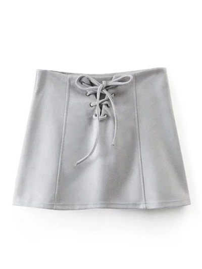 Faux Suede Lace Up Mini Skirt - GRAY L Mobile