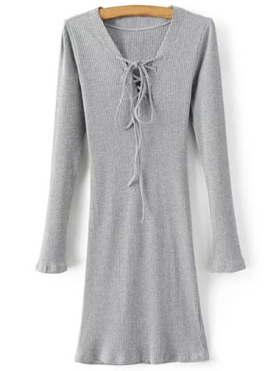 Long Sleeve Ribbed Lace Up Dress - GRAY L Mobile