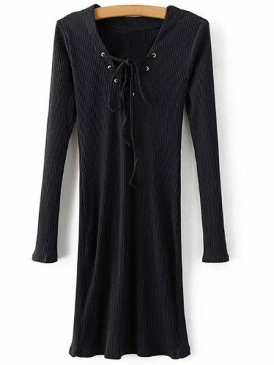 Long Sleeve Ribbed Lace Up Dress - BLACK S Mobile