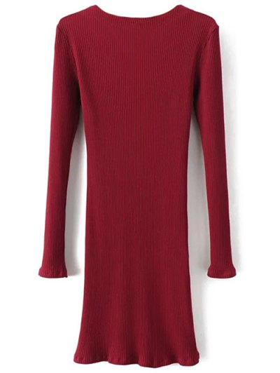 Long Sleeve Ribbed Lace Up Dress - BURGUNDY L Mobile