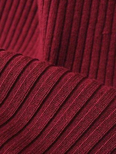 Roll Neck Sleeveless Sweater Dress - BURGUNDY ONE SIZE Mobile