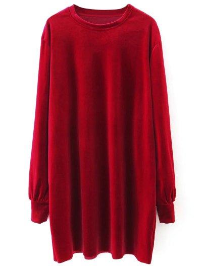 Velvet Tunic Dress - RED S Mobile