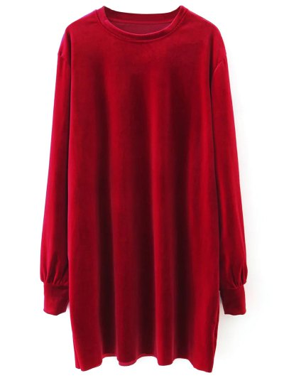 Velvet Tunic Dress - RED L Mobile