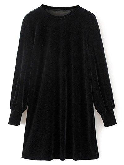 Velvet Tunic Dress - BLACK L Mobile