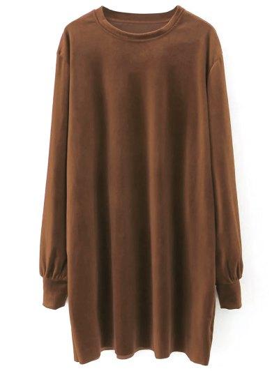 Velvet Tunic Dress - BROWN M Mobile