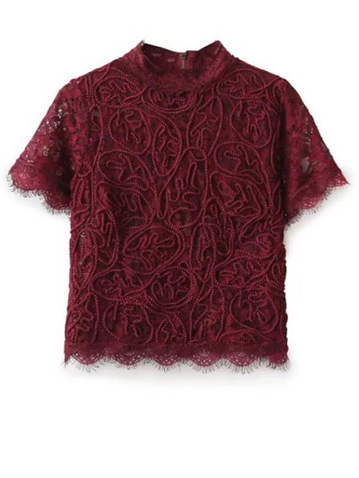 Mock Neck Lace Top - BURGUNDY S Mobile