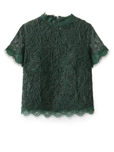 Mock Neck Lace Top - GREEN L Mobile