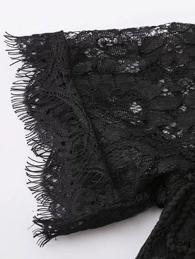 Mock Neck Lace Top - BLACK S Mobile