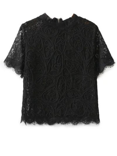 Mock Neck Lace Top - BLACK M Mobile