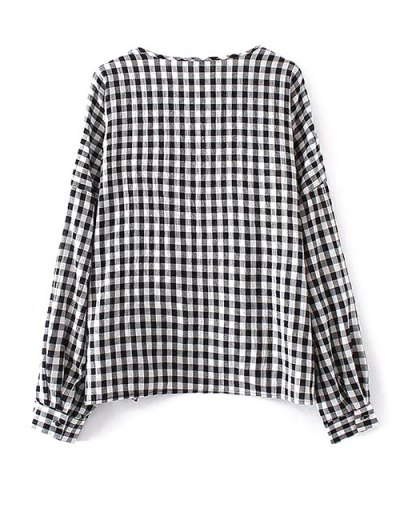 Keyhole Gingham Check Blouse - WHITE AND BLACK S Mobile