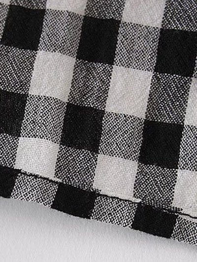 Keyhole Gingham Check Blouse - WHITE AND BLACK L Mobile
