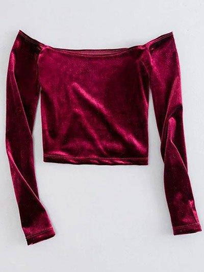 Off The Shoulder Cropped Velvet Top - BURGUNDY M Mobile