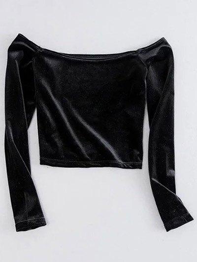Off The Shoulder Cropped Velvet Top - BLACK S Mobile