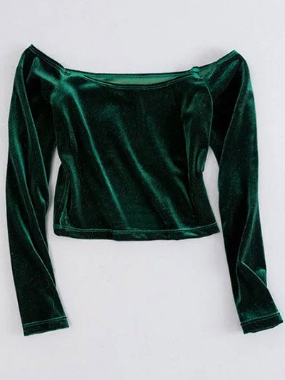 Off The Shoulder Cropped Velvet Top - GREEN S Mobile