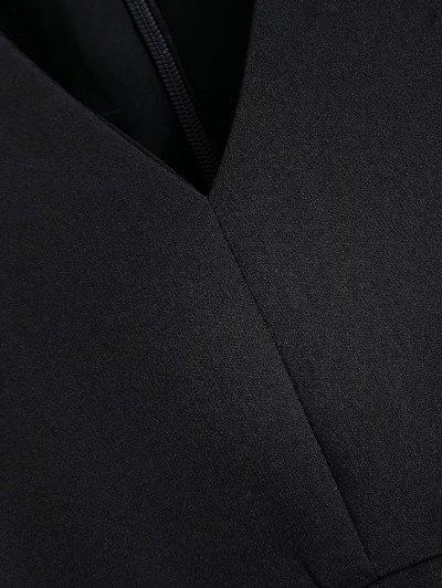 Slit Floral Embroidered Straight Dress - BLACK M Mobile