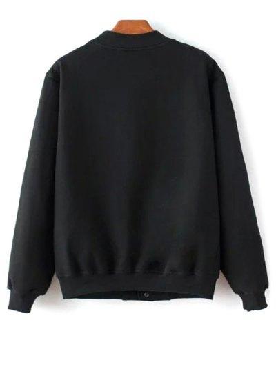Button Up Baseball Jacket - BLACK S Mobile