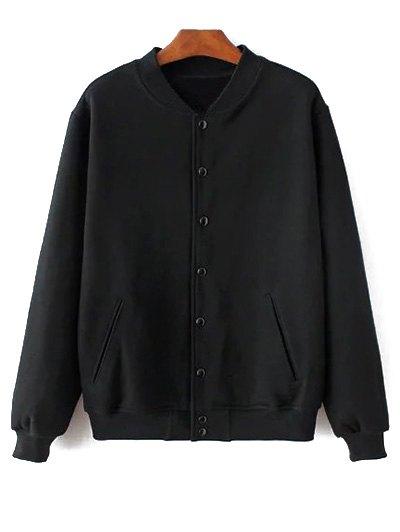 Button Up Baseball Jacket - BLACK XXS Mobile