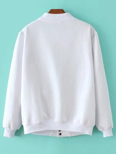 Button Up Baseball Jacket - WHITE S Mobile