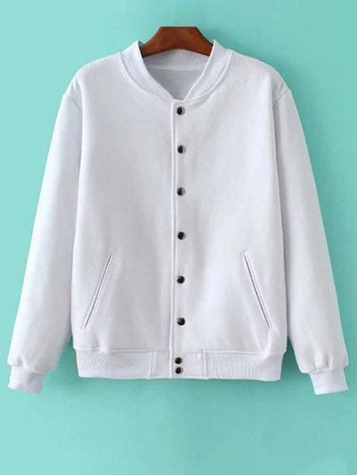 Button Up Baseball Jacket - WHITE XS Mobile