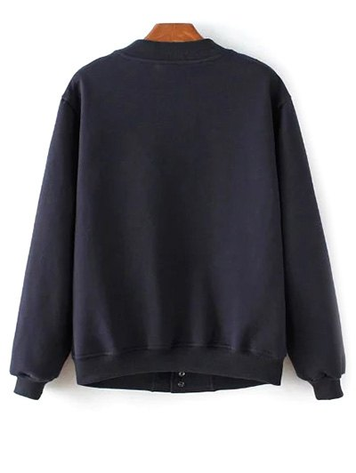 Button Up Baseball Jacket - PURPLISH BLUE S Mobile