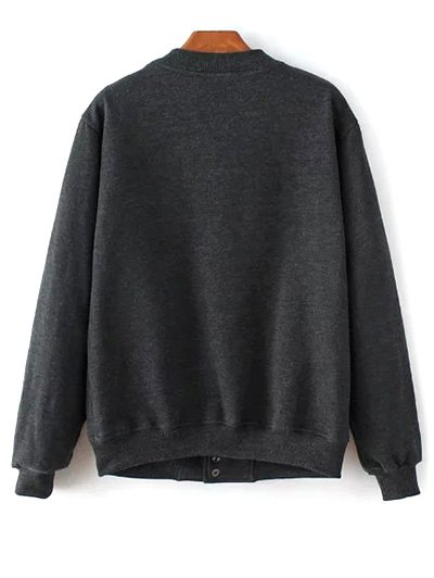 Button Up Baseball Jacket - DEEP GRAY L Mobile