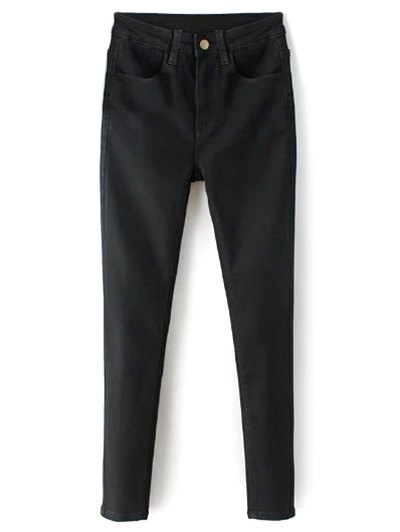 High Waisted Zip Fly Jeans - BLACK S Mobile
