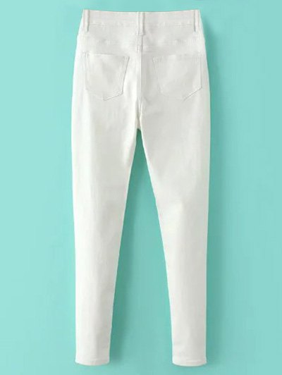High Waisted Zip Fly Jeans - WHITE L Mobile