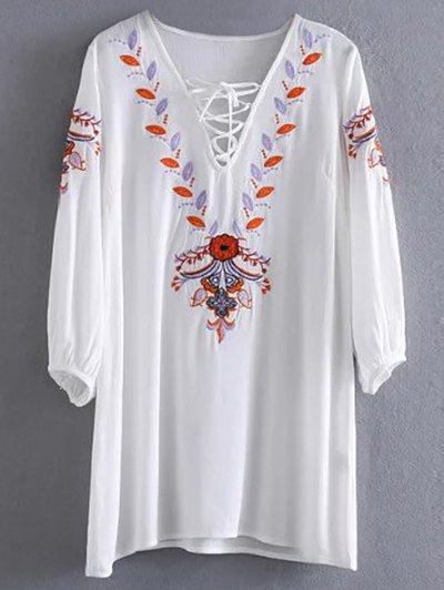 Embroidered Lace Up  Mini Tunic Dress - WHITE S Mobile