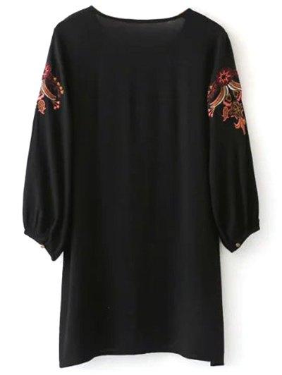 Embroidered Lace Up  Mini Tunic Dress - BLACK L Mobile
