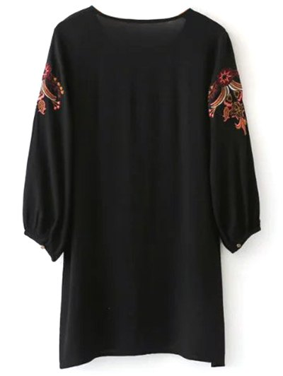 Embroidered Lace Up  Mini Tunic Dress - BLACK S Mobile
