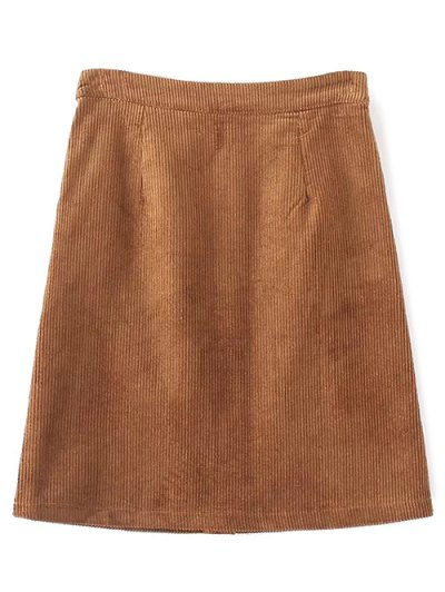 High Waist Single Breasted A-Line Skirt - BROWN M Mobile