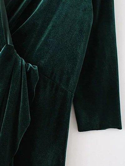 Asymmetric Velvet Midi Dress - PURPLISH BLUE M Mobile