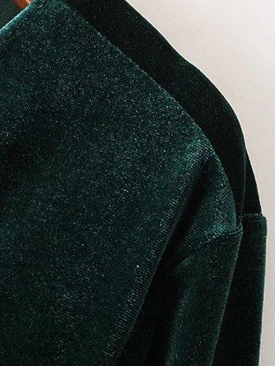 Asymmetric Velvet Midi Dress - BLACKISH GREEN L Mobile