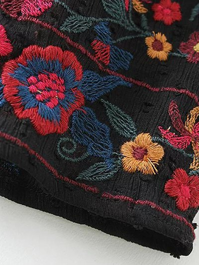 Embroidered Floral Flounce Blouse - BLACK S Mobile