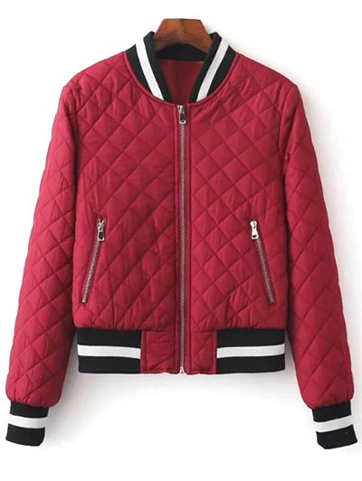 Zip Up Padded Pilot Jacket - WINE RED S Mobile