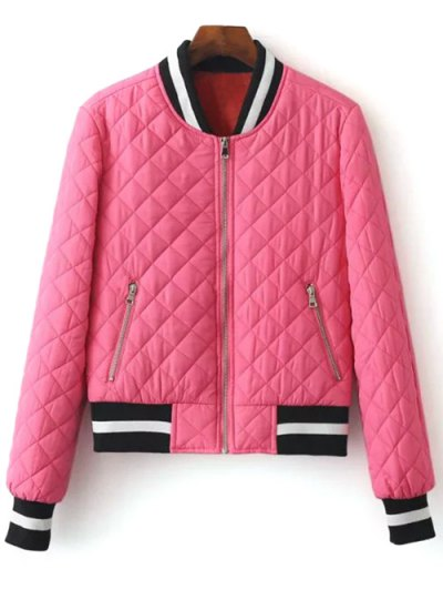 Zip Up Padded Pilot Jacket - ROSE RED M Mobile