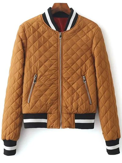 Zip Up Padded Pilot Jacket - LIGHT COFFEE S Mobile