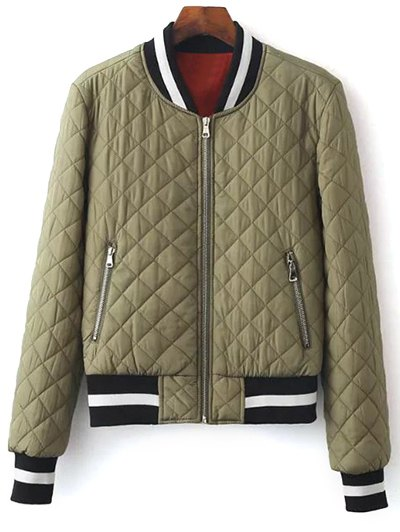 Zip Up Padded Pilot Jacket - OLIVE GREEN S Mobile