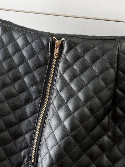 Rivet PU Leather Bodycon Skirt - BLACK S Mobile