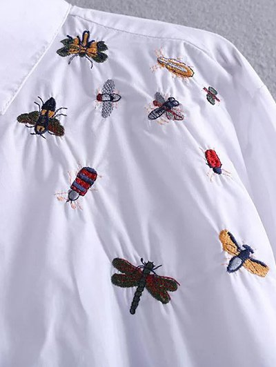 High Low Insects Embroidered Shirt - WHITE L Mobile