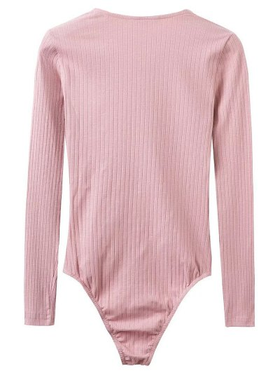 Skinny Ribbed Lace Up Bodysuit - PINK S Mobile