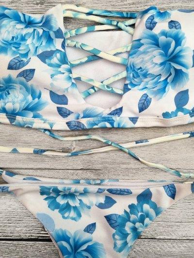 Cut Out Off The Shoulder Bikini Set - BLUE L Mobile