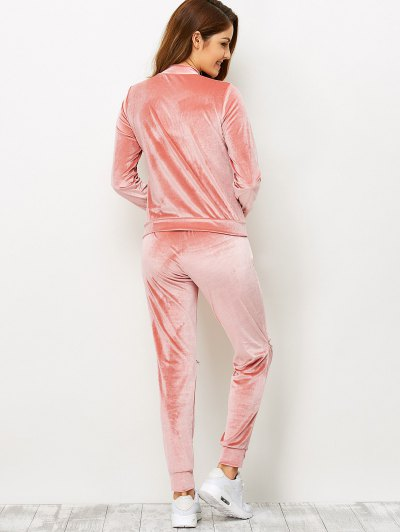 Zippers Velvet T-Shirt and Sports Pencil Pants - ORANGEPINK L Mobile