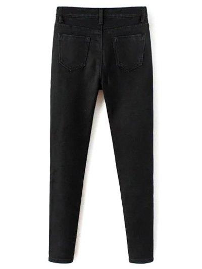 Super Elastic Wool Blend Pencil Jeans - BLACK 2XL Mobile